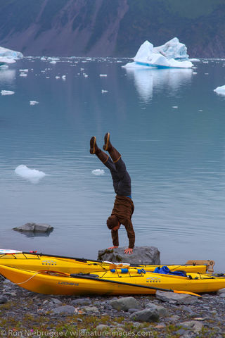 Handstand in Bear Glacier Lagoon
