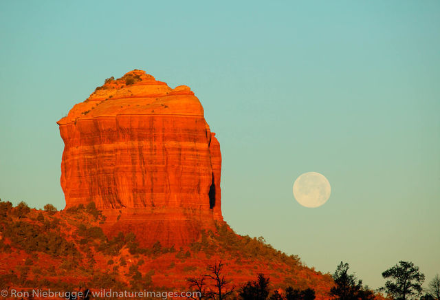 Cathedral Rock with full moon.