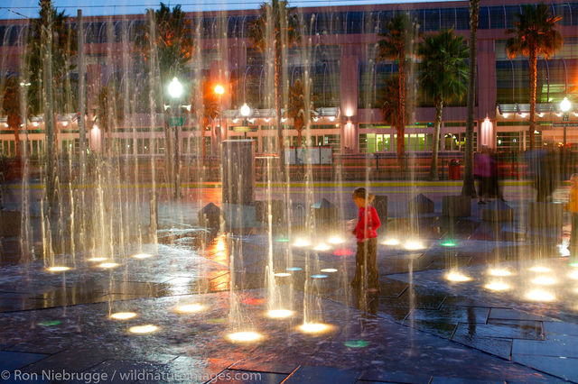 A water fountain in the Gaslamp District
