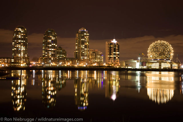 The city skyline of Vancouver and Science World