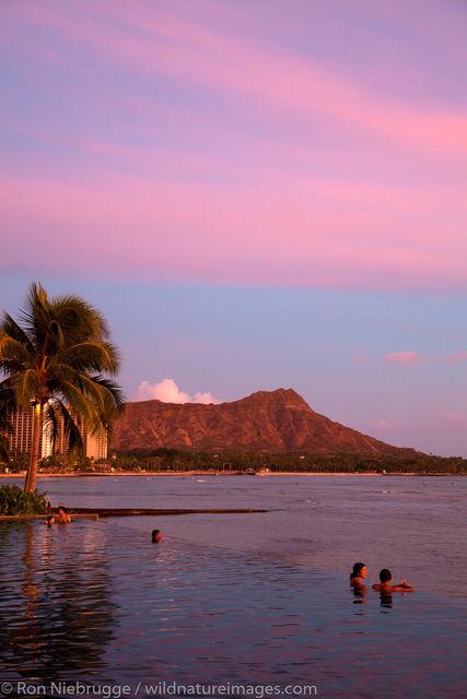 Sunset, Waikiki Beach, Honolulu, Hawaii.