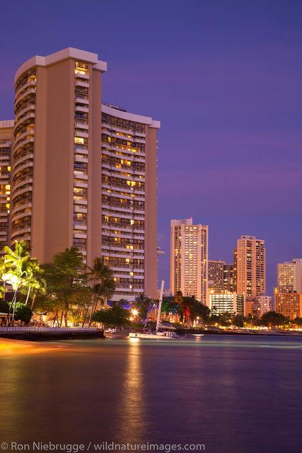 Waikiki Beach at Night, Honolulu, Hawaii