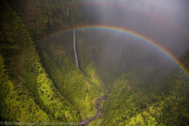 Aerial of a rainbow and waterfalls