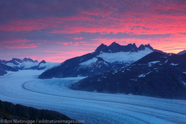 Sunrise and the Mendenhall Glacier