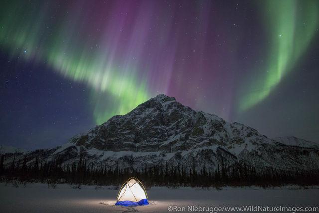 A tent under the Aurora Borealis