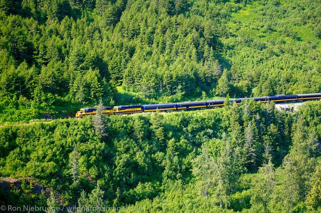 Aerial Alaska Railroad Passenger Train