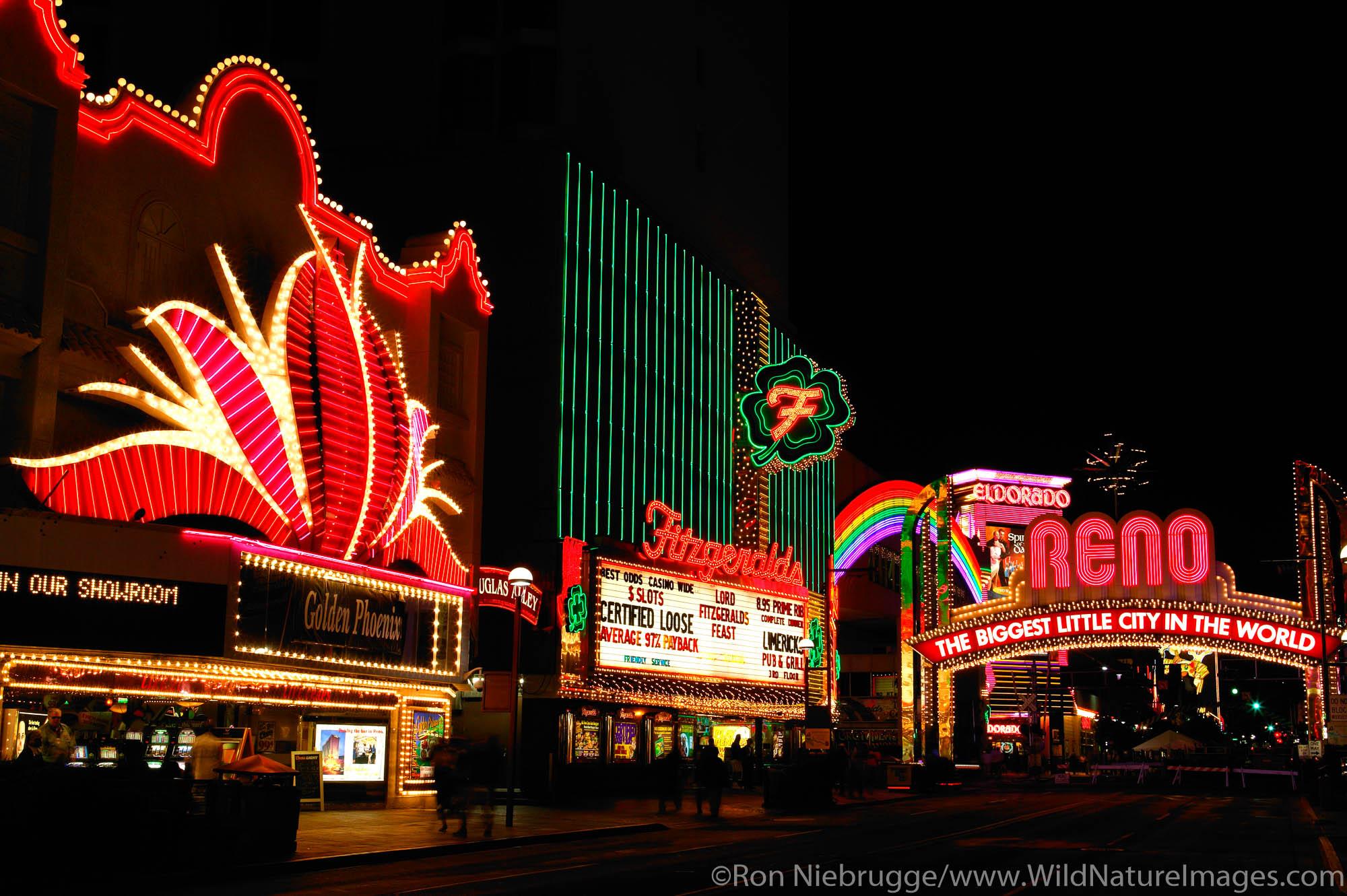 Colorful lights, downtown Reno, Nevada.