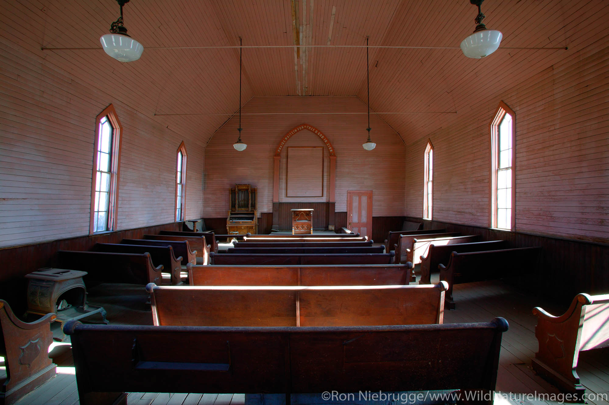 The old Methodist Church in the historic ghost town of Bodie.  Bodie was once a bustling gold mining town, Bodie State Historic...
