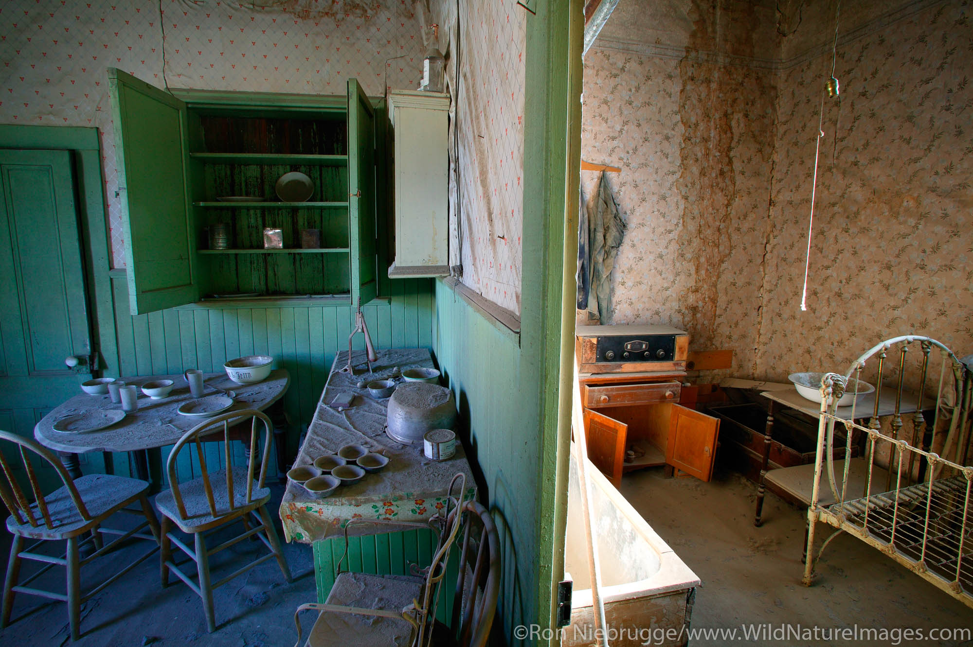 The Miller House, in the historic ghost town of Bodie.  Bodie was once a bustling gold mining town, Bodie State Historic Park...