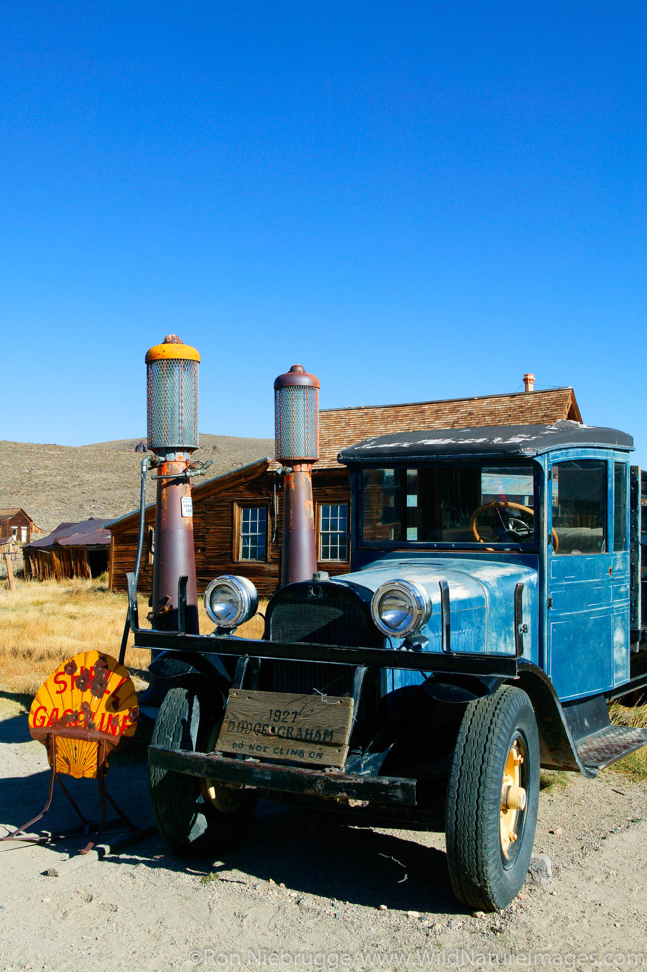An old service station at the Boone Store and Warehouse in the historic ghost town of Bodie.  Bodie was once bustling gold mining...