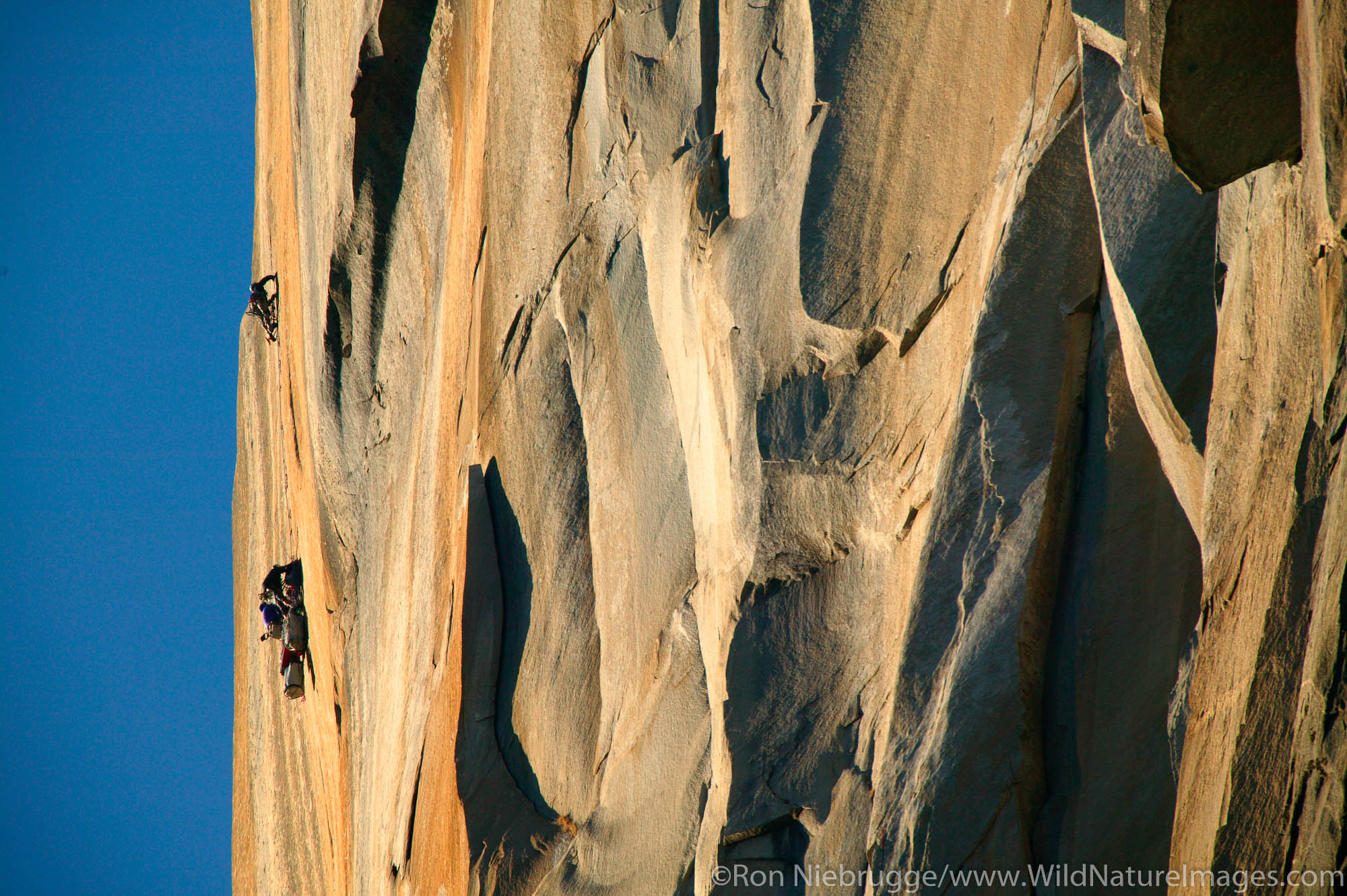 Climbers high upon El Capitan, Yosemite National Park, California.