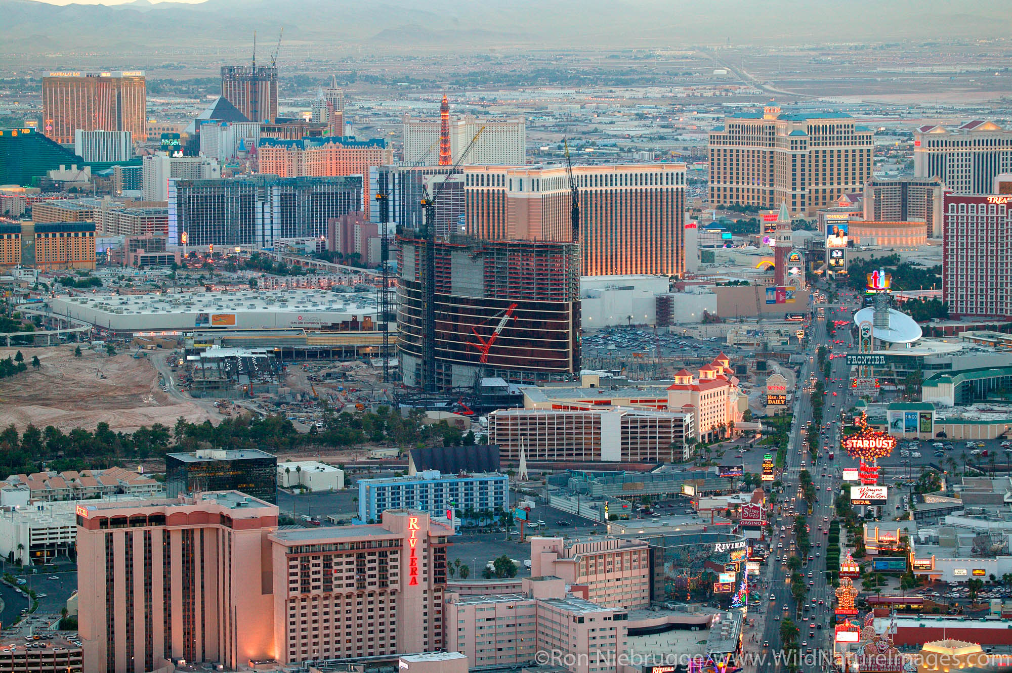 View of Vegas from the top of the Stratosphere Hotel and Casino showing the strip and Steve Wynn's new resort and casino, Las...
