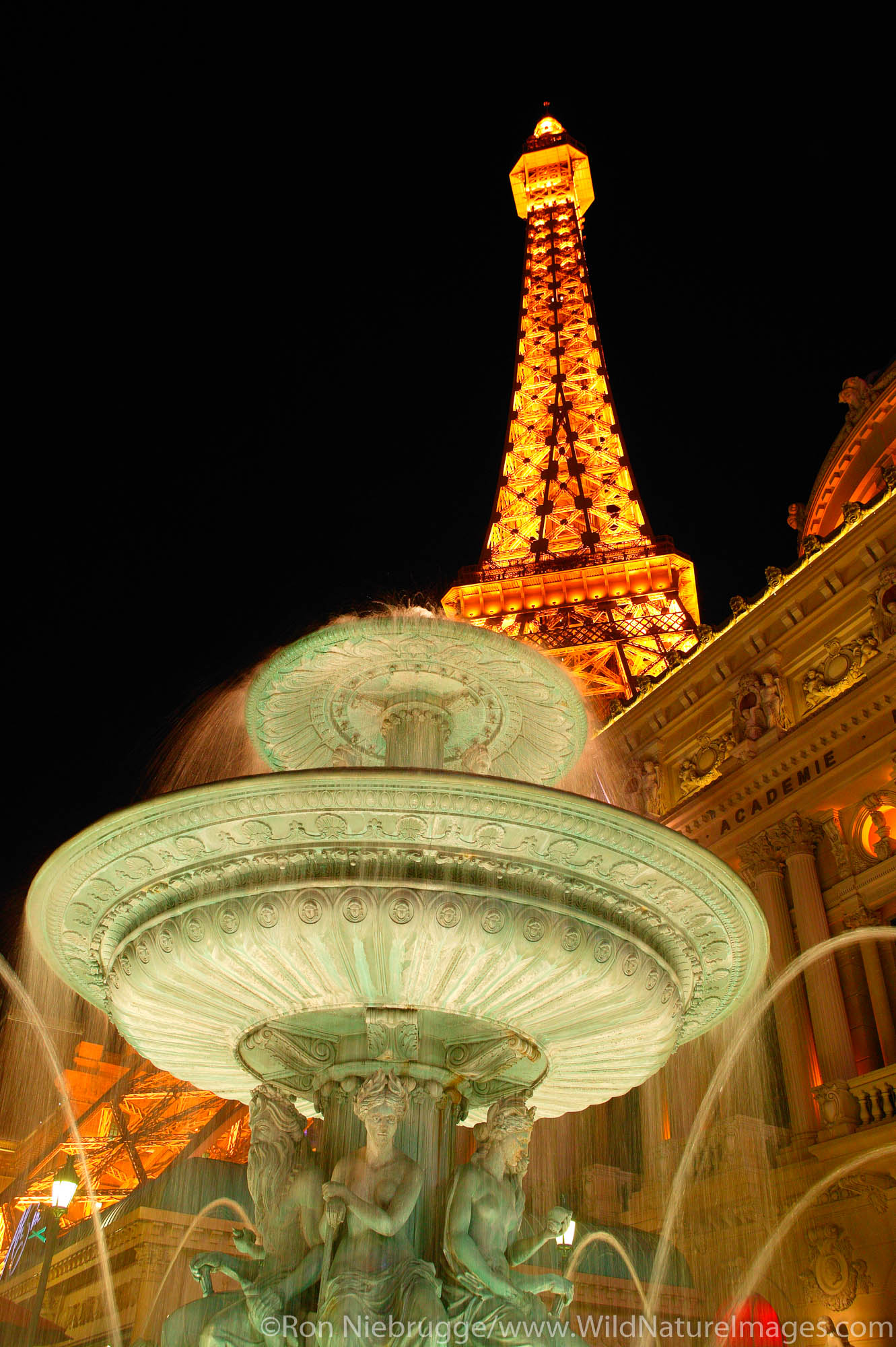 The Eiffel Tower and Arc de Triomphe at the Paris resort hotel and casino in Las Vegas, Nevada.