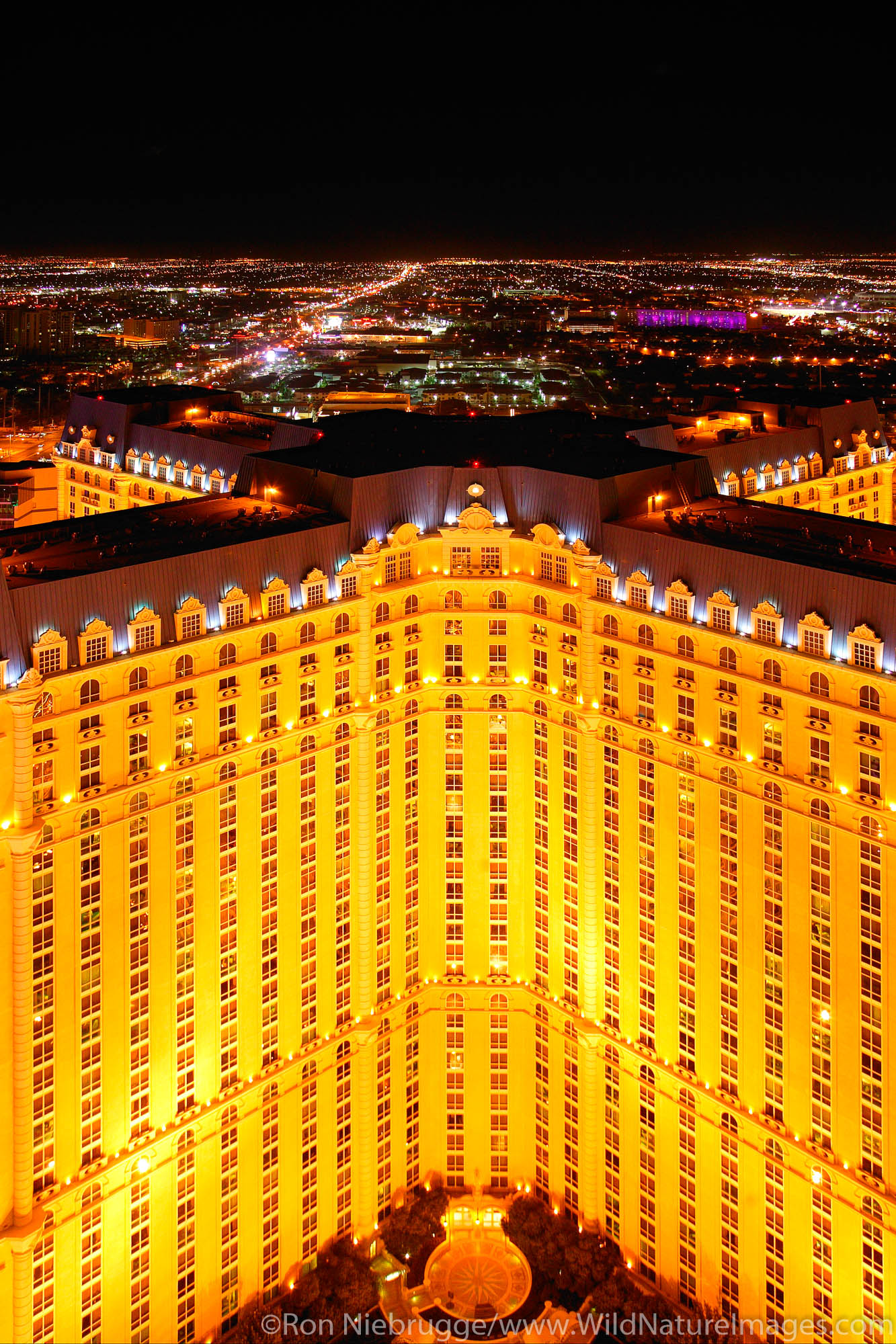 The Paris resort hotel and casino viewed fromthe Eiffel Tower in Las Vegas, Nevada.