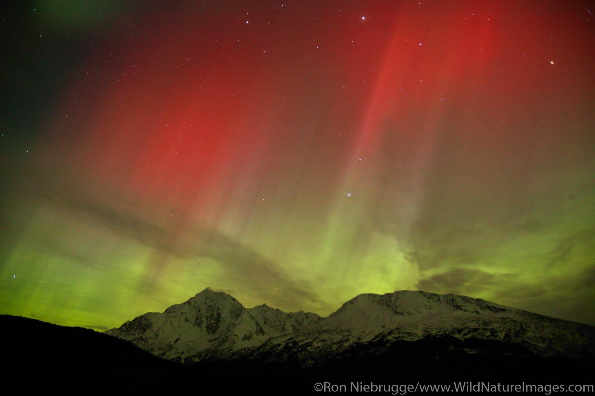 Colorful Northern Lights (Aurora Borealis), Chugach National Forest, on the Kenai Peninsula near Seward, Alaska.