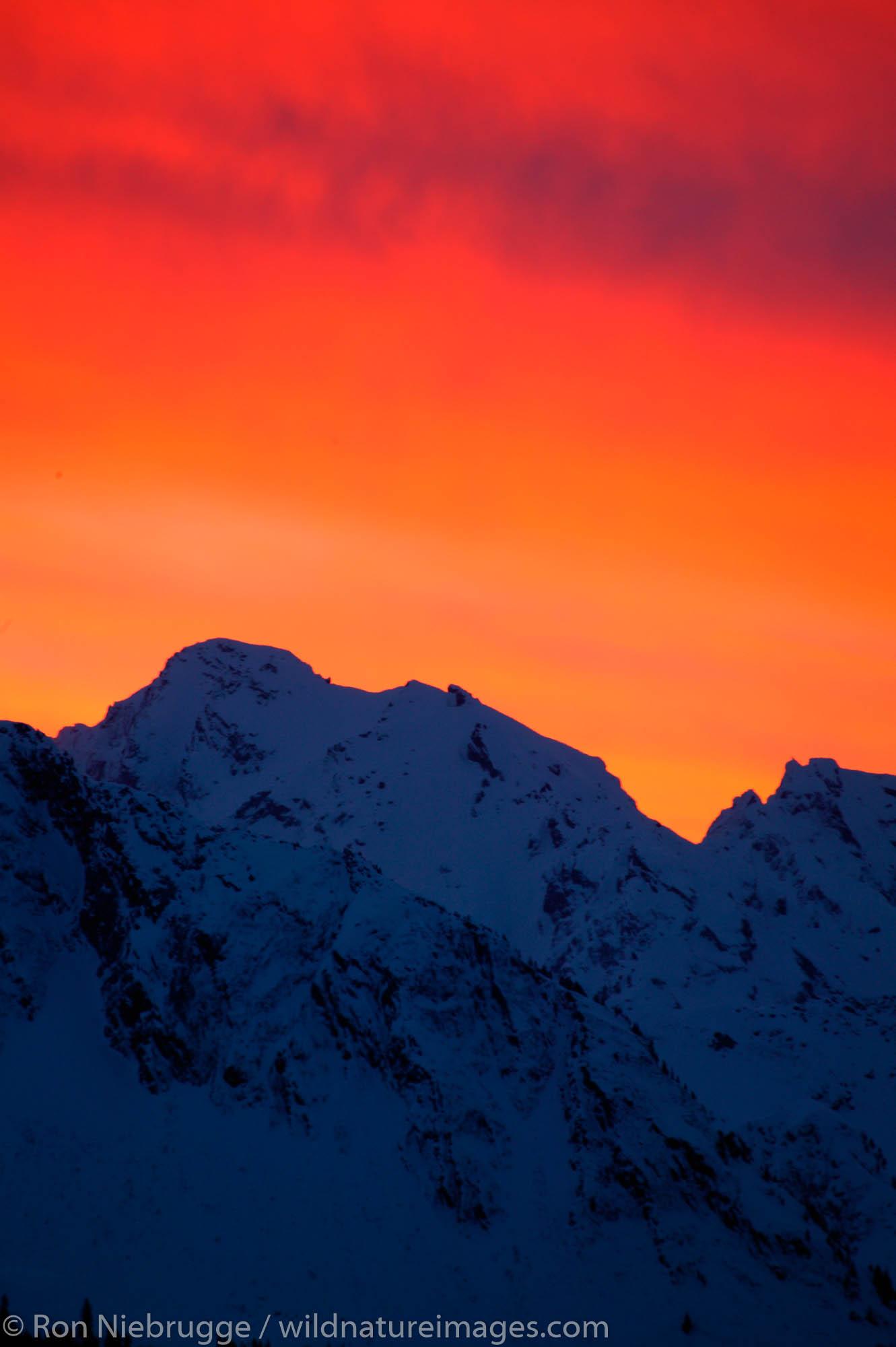 Sunrise from Seward over the Resurrection Peninsula, Chugach National Forest, Alaska.