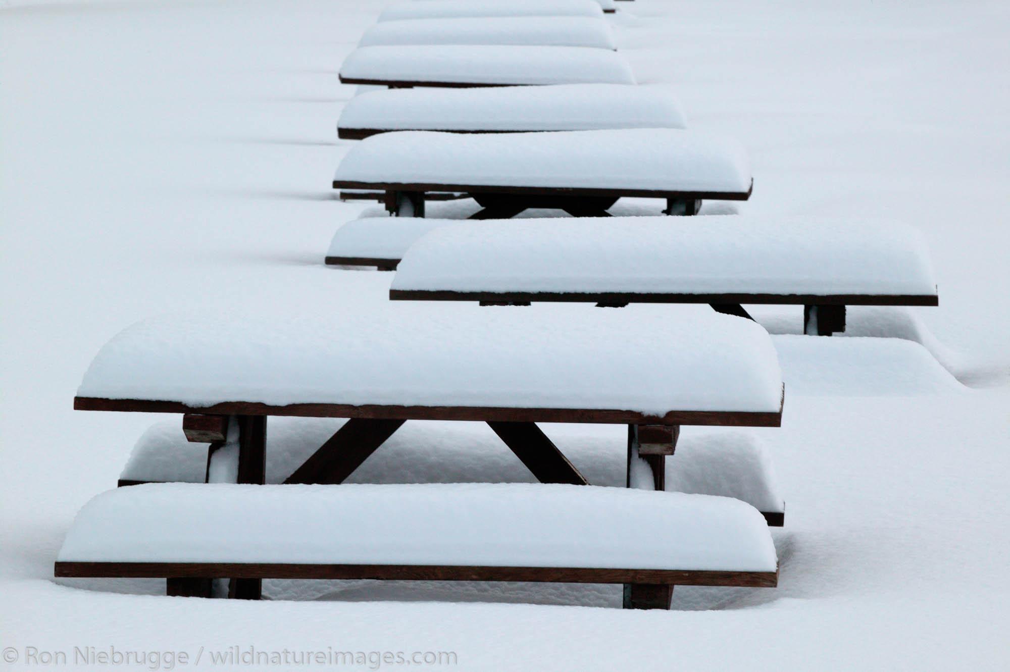 Picnic tables during the winter in Seward, Alaska.