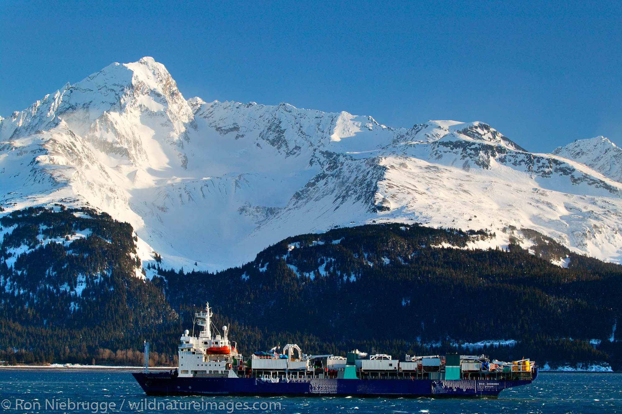 Fiber-optic cable laying ship the Bold Endurance, in Resurrection Bay, Seward, Alaska.