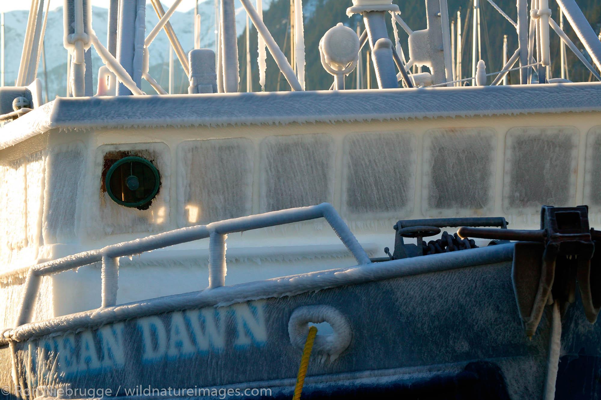 Ice on the fishing vessel Ocean Dawn, Seward, Alaska.
