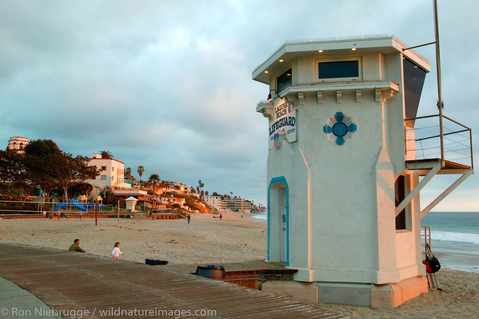 Life Guard tower at Laguna Beach, California.