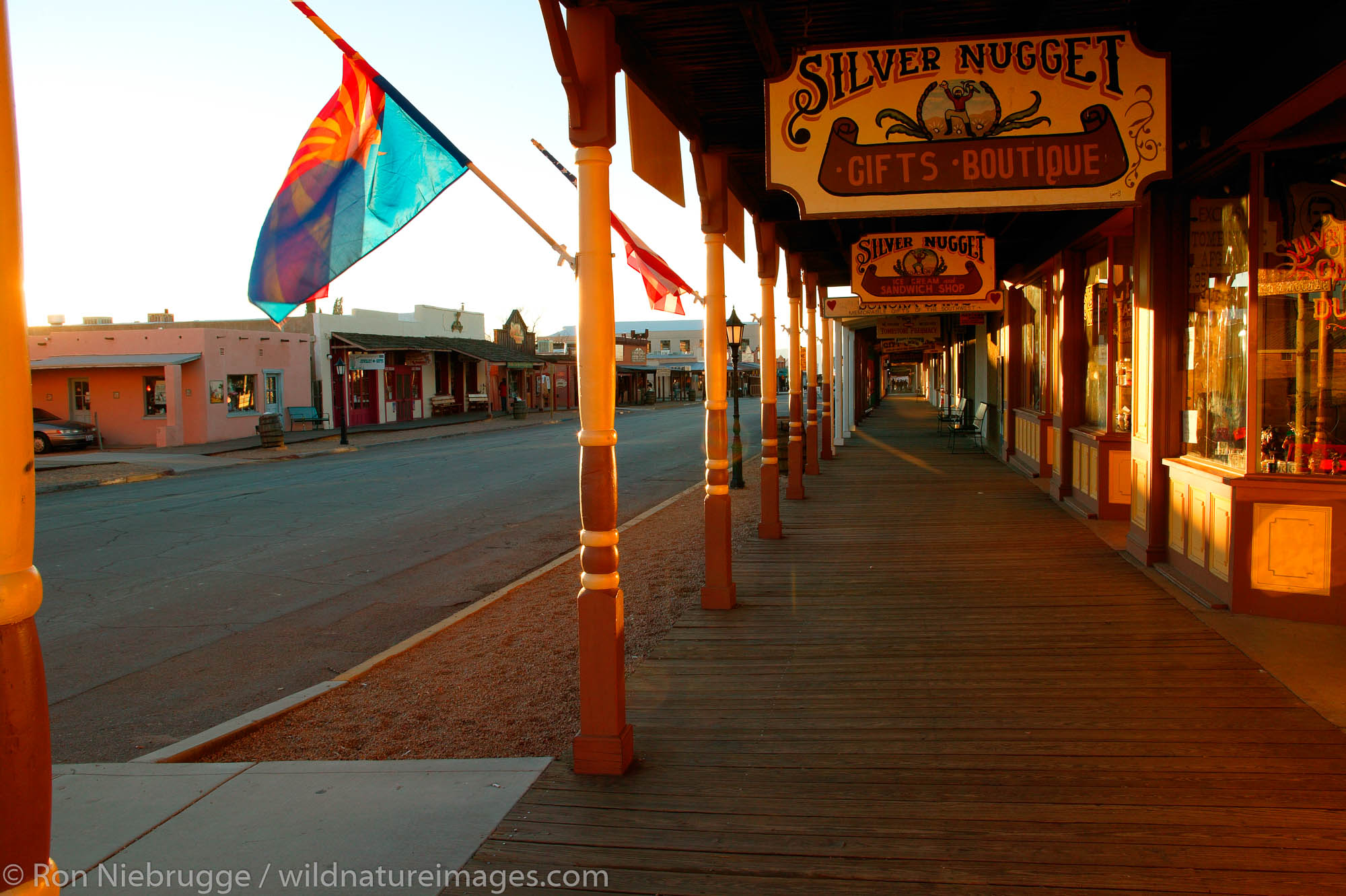 The main street (Allen Street) at sunset, historic Tombstone Arizona, site of the OK Coral gunfight.