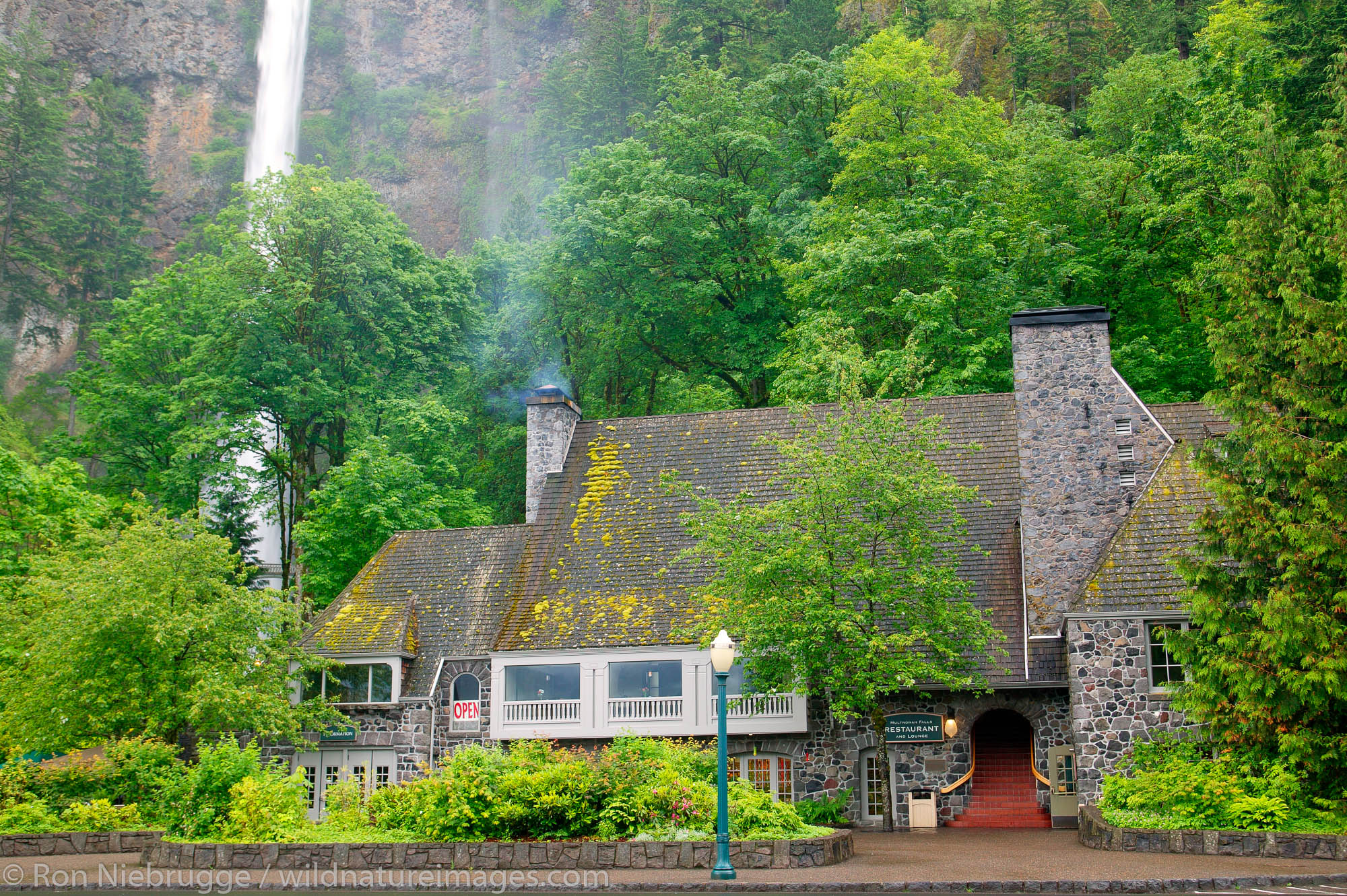 The Multnomah Falls Lodge and U.S. Forest Service Information Center at the Multnomah Falls, Columbia River Gorge National Scenic...