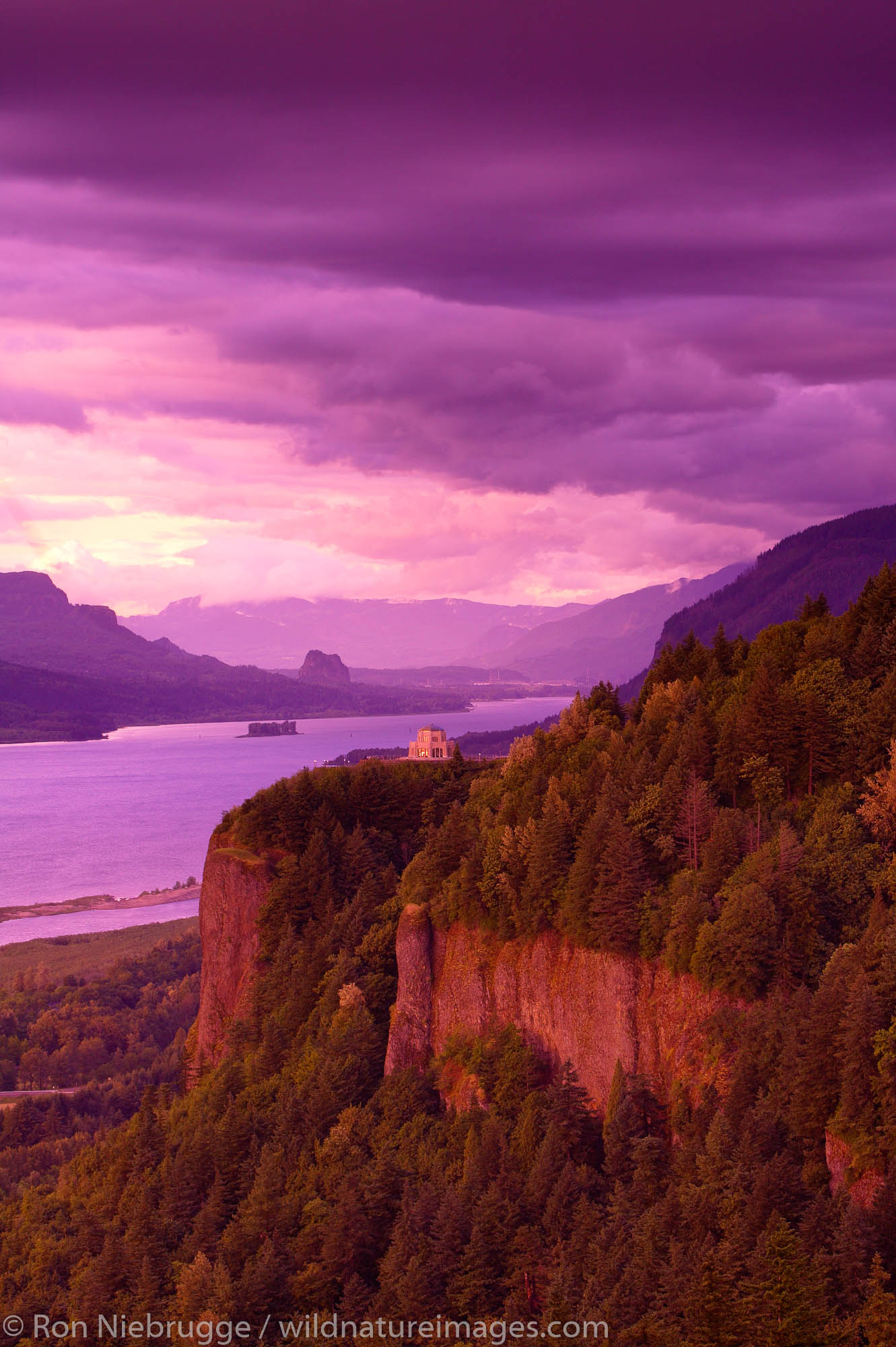 The Vista House at Crown Point State park along the Historic Columbia River Highway, Columbia River Gorge National Scenic Area...