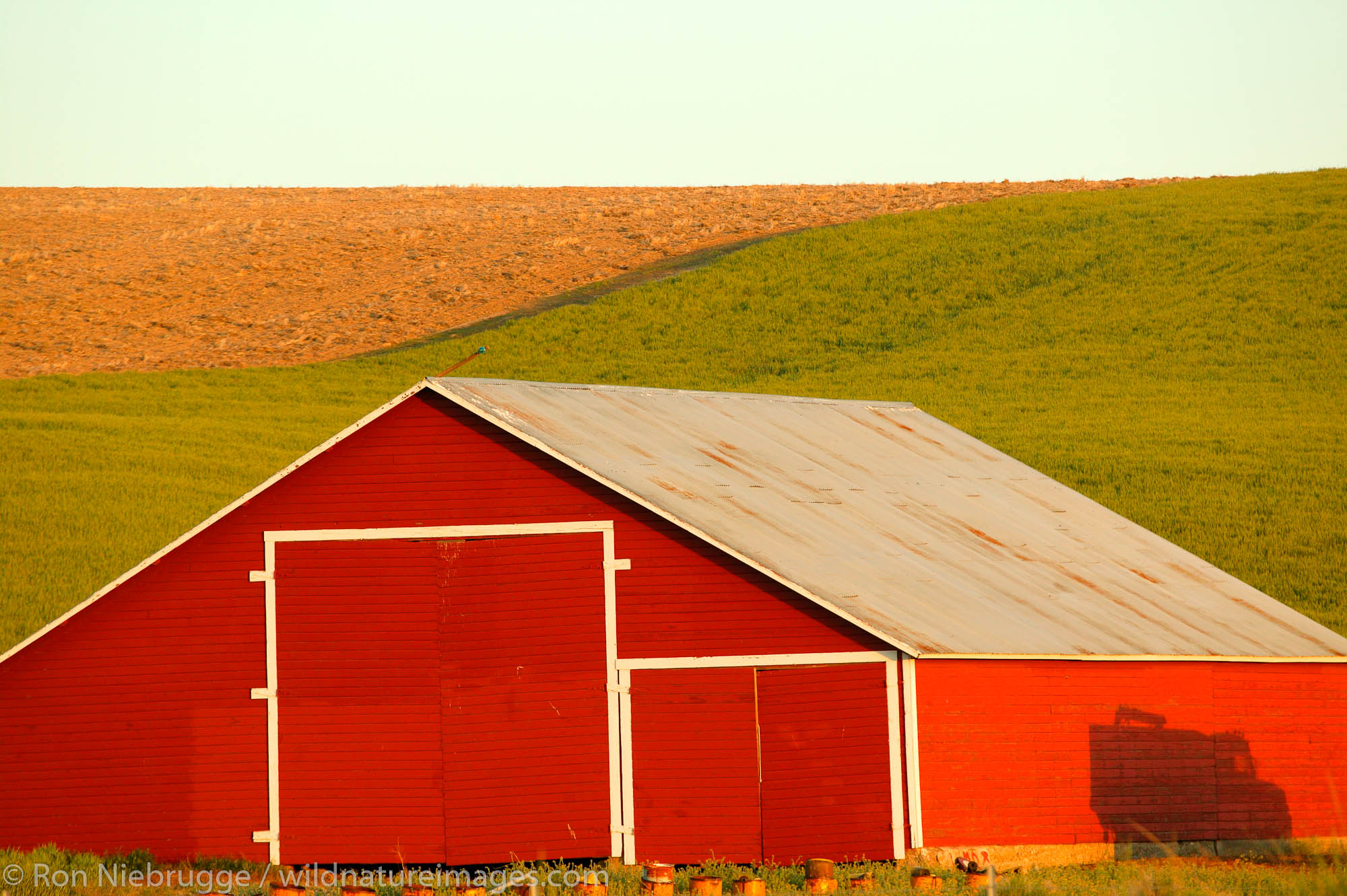 A Red barn in heat farmland near Ritzville, Eastern Washington.