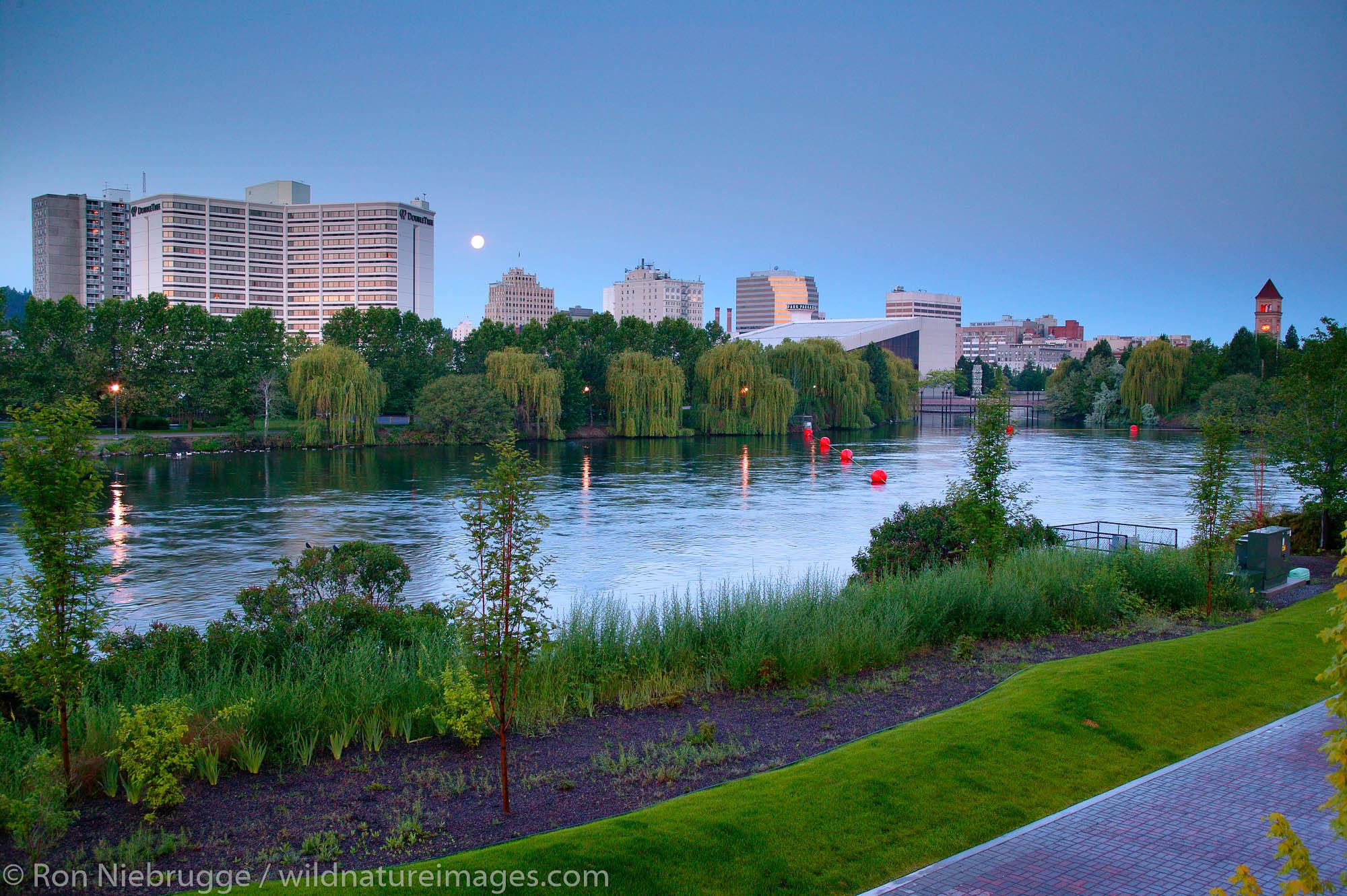 Moonset over the Spokane River and Riverfront Park, Spokane, Washington.