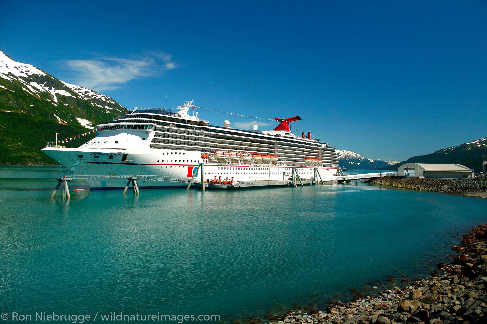 The Carnival Spirit cruiseship at the new (2004) cruiseship terminal in Whittier, Alaska.