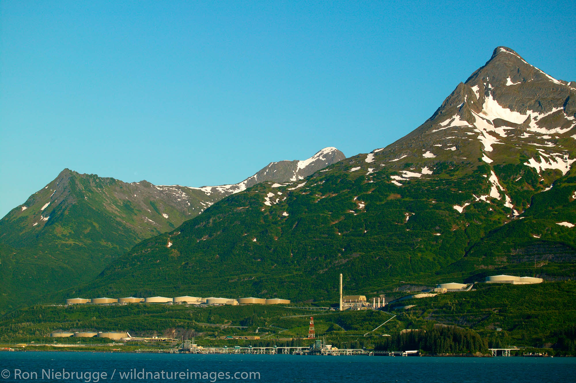 The Trans-Alaska Pipeline Terminal from the Alaska State Ferry Aurora, Prince William Sound, Valdez, Alaska.