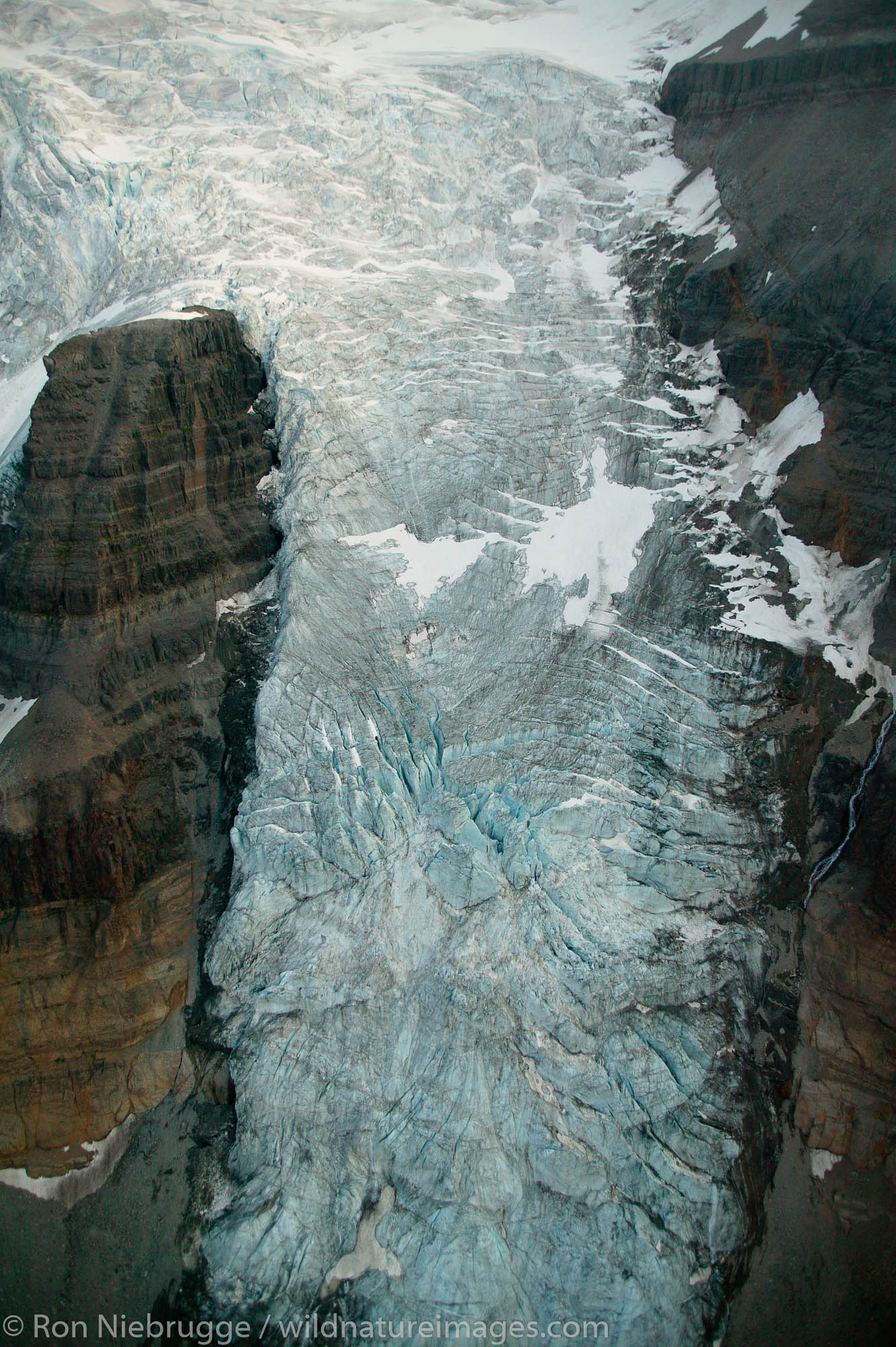 An icefall above the Root Glacier, Wrangell-St. Elias National Park and Preserve, Alaska.
