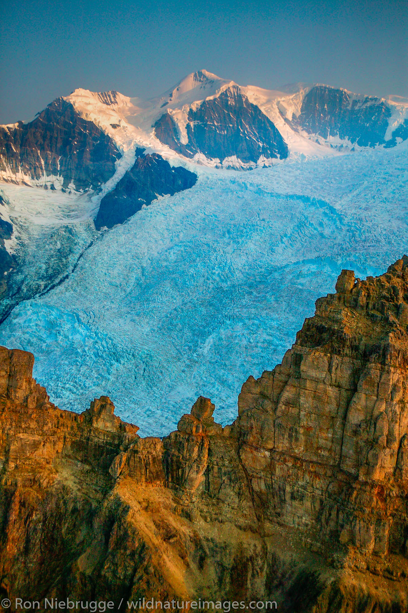 Mountains, snow and ice above the Root Glacier, Wrangell-St. Elias National Park and Preserve, Alaska.