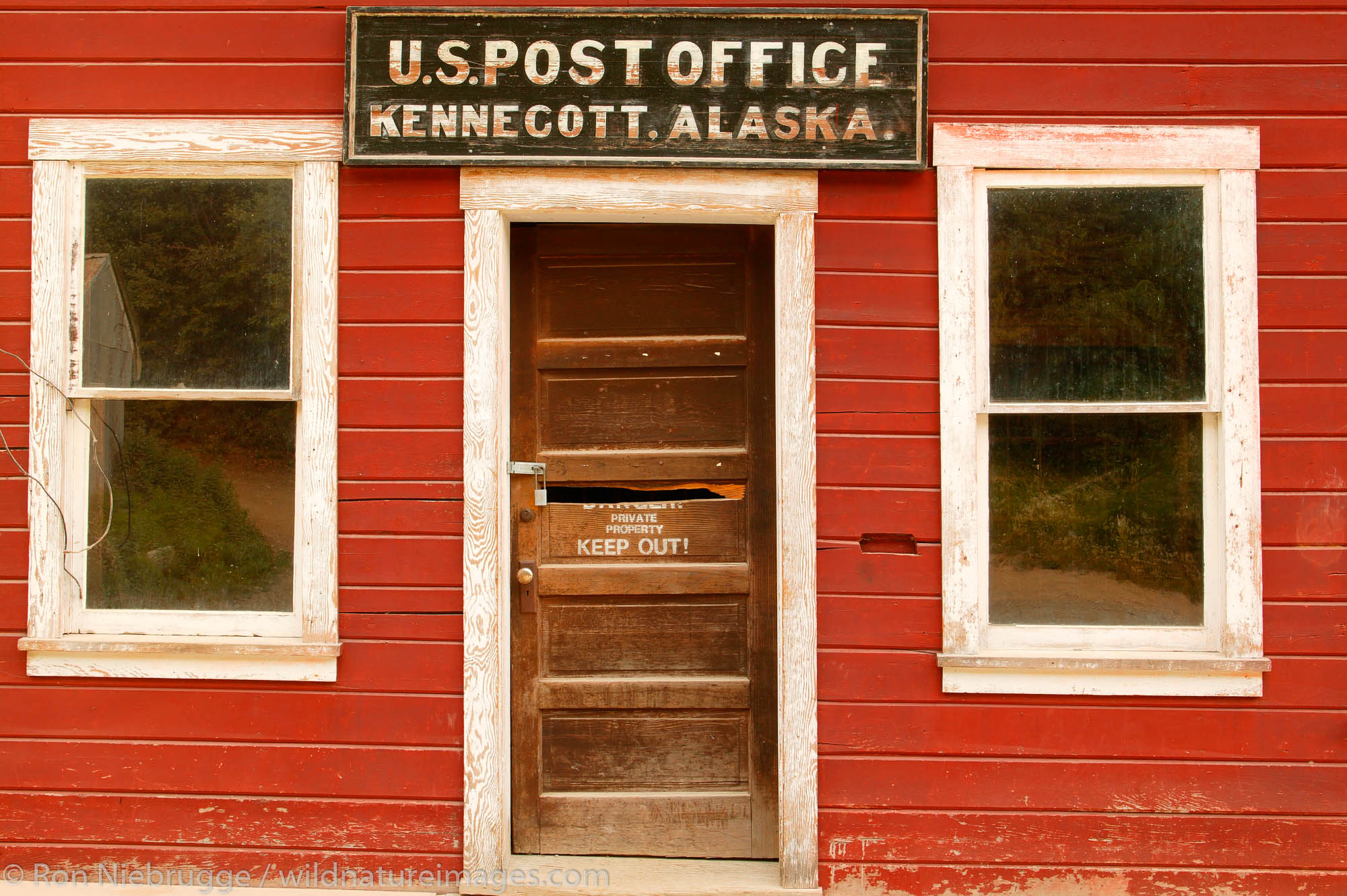 The Post Office at the historic Kennicott Mill built in 1907 by the Kennecott Copper Corporation near McCarthy, Wrangell-St....