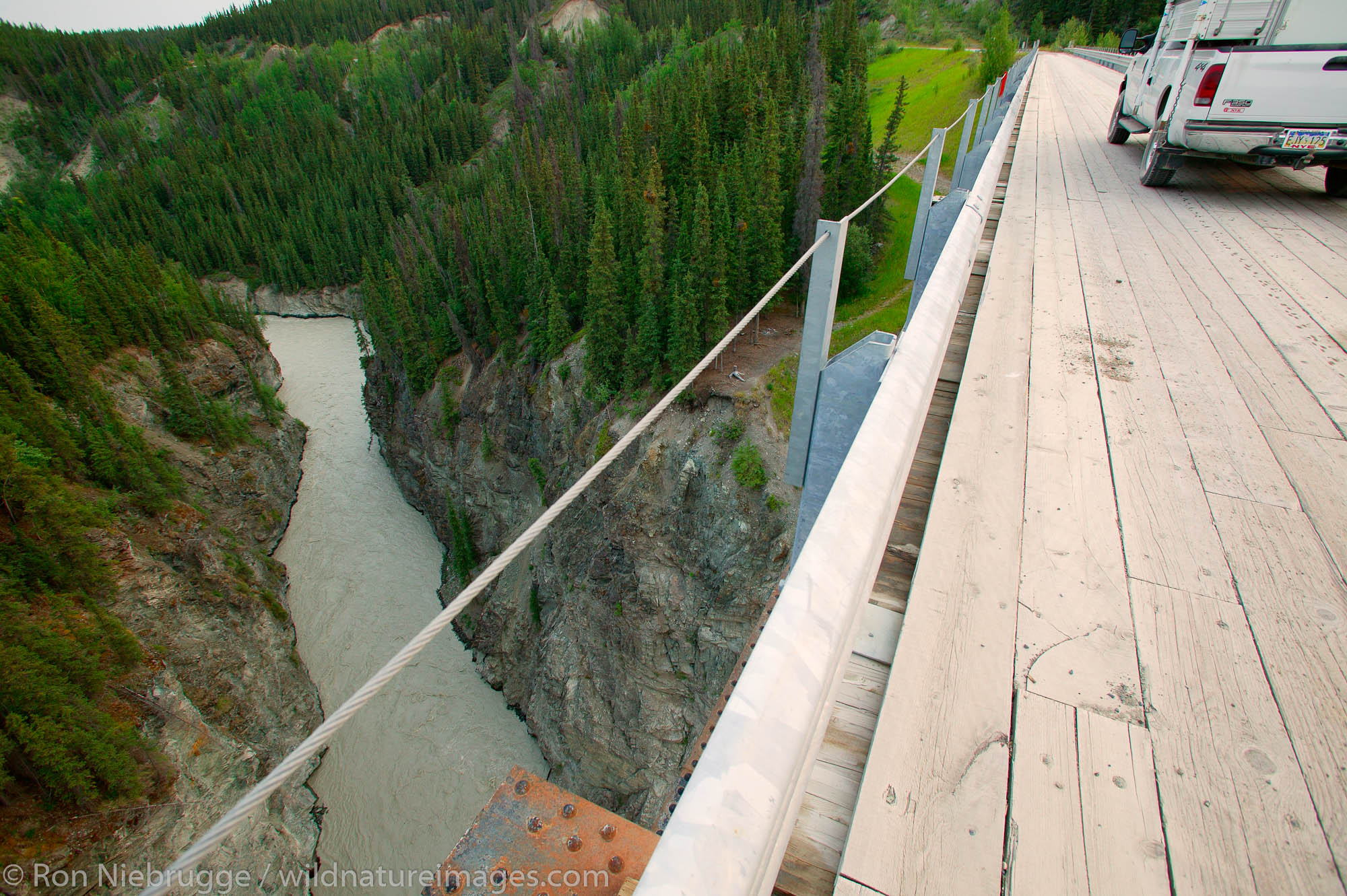 The Kuskulana railroad trestle is now part of the road to McCarthy, Wrangell-St Elias National Park and Preserve, Alaska.