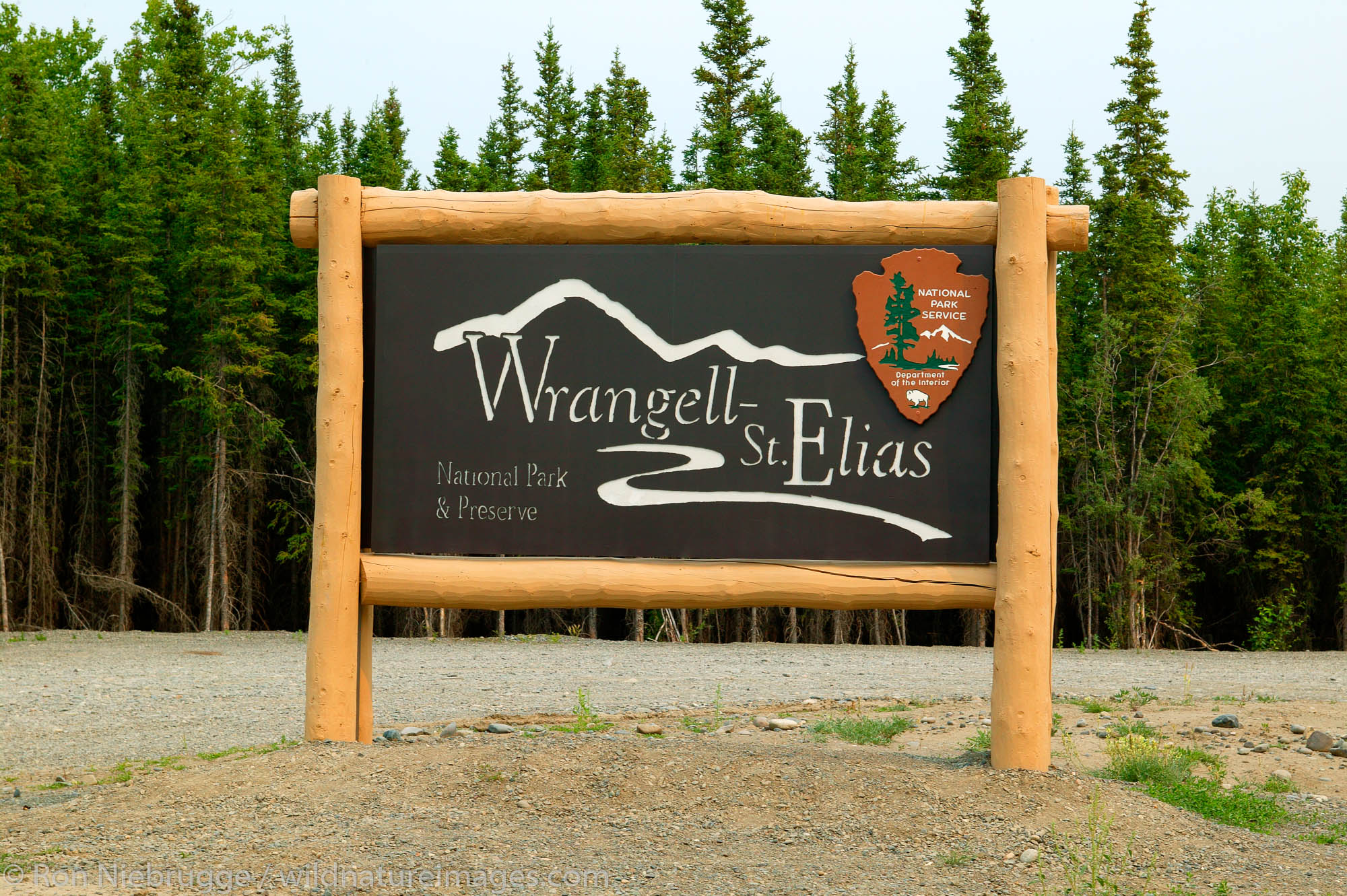 The sign at the visitor center and headquarters for the Wrangell-St Elias National Park and Preserve, Alaska.