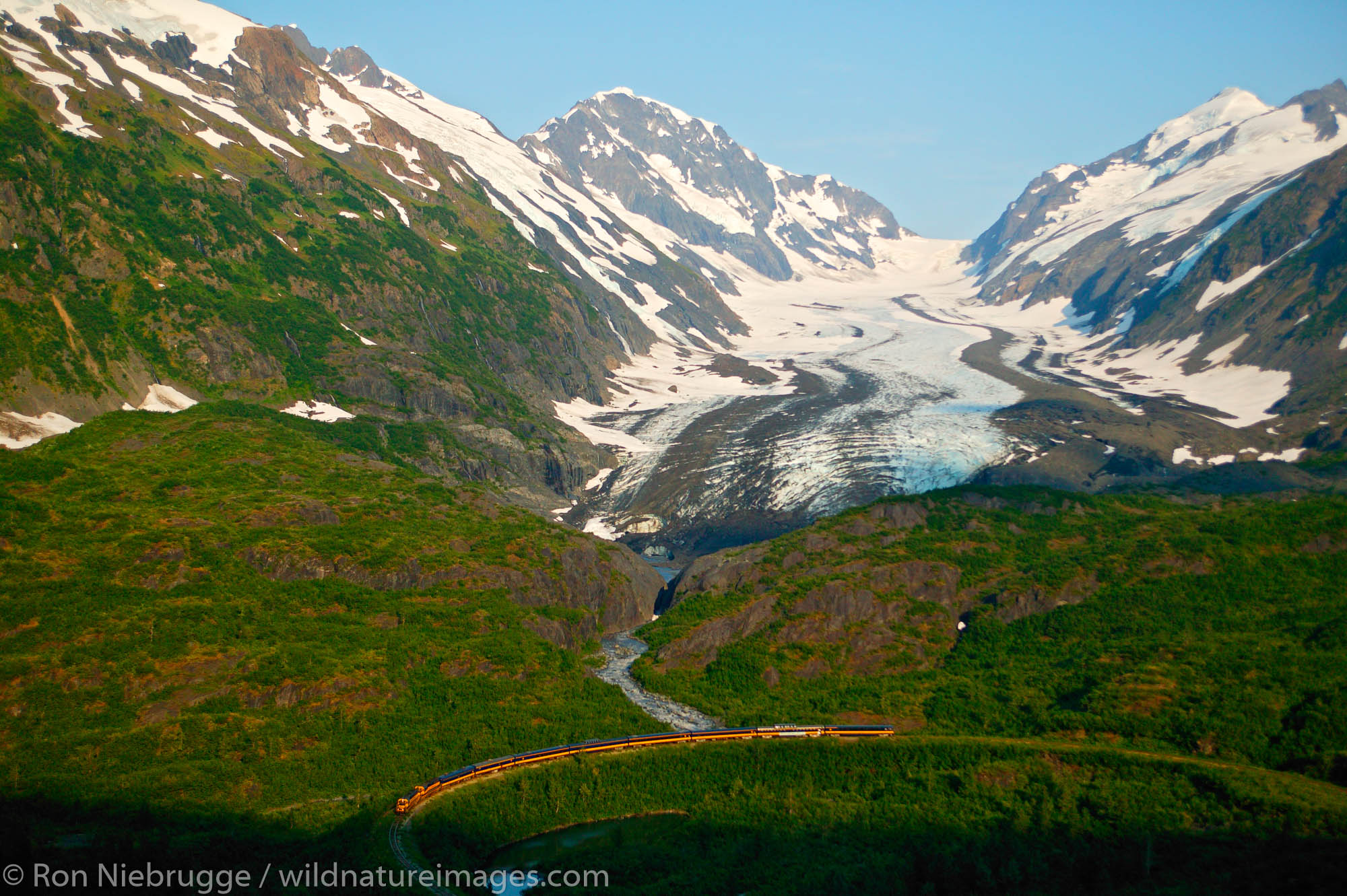 Alaska Railroad passes by Bartlett Glacier, Chugach National Forest, Kenai Peninsula on its way between Seward and Anchorage...