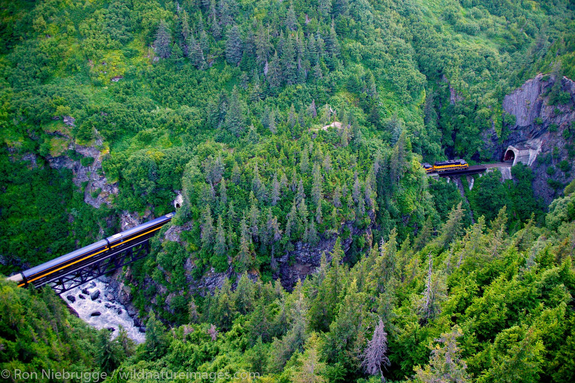 Alaska Railroad passes through tunnels in the Chugach National Forest, Kenai Peninsula on its way between Seward and Anchorage...