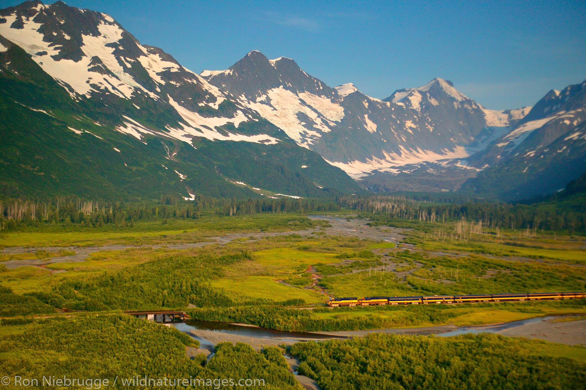 Alaska Railroad passes through the Chugach National Forest, Kenai Peninsula on its way between Seward and Anchorage, Alaska.