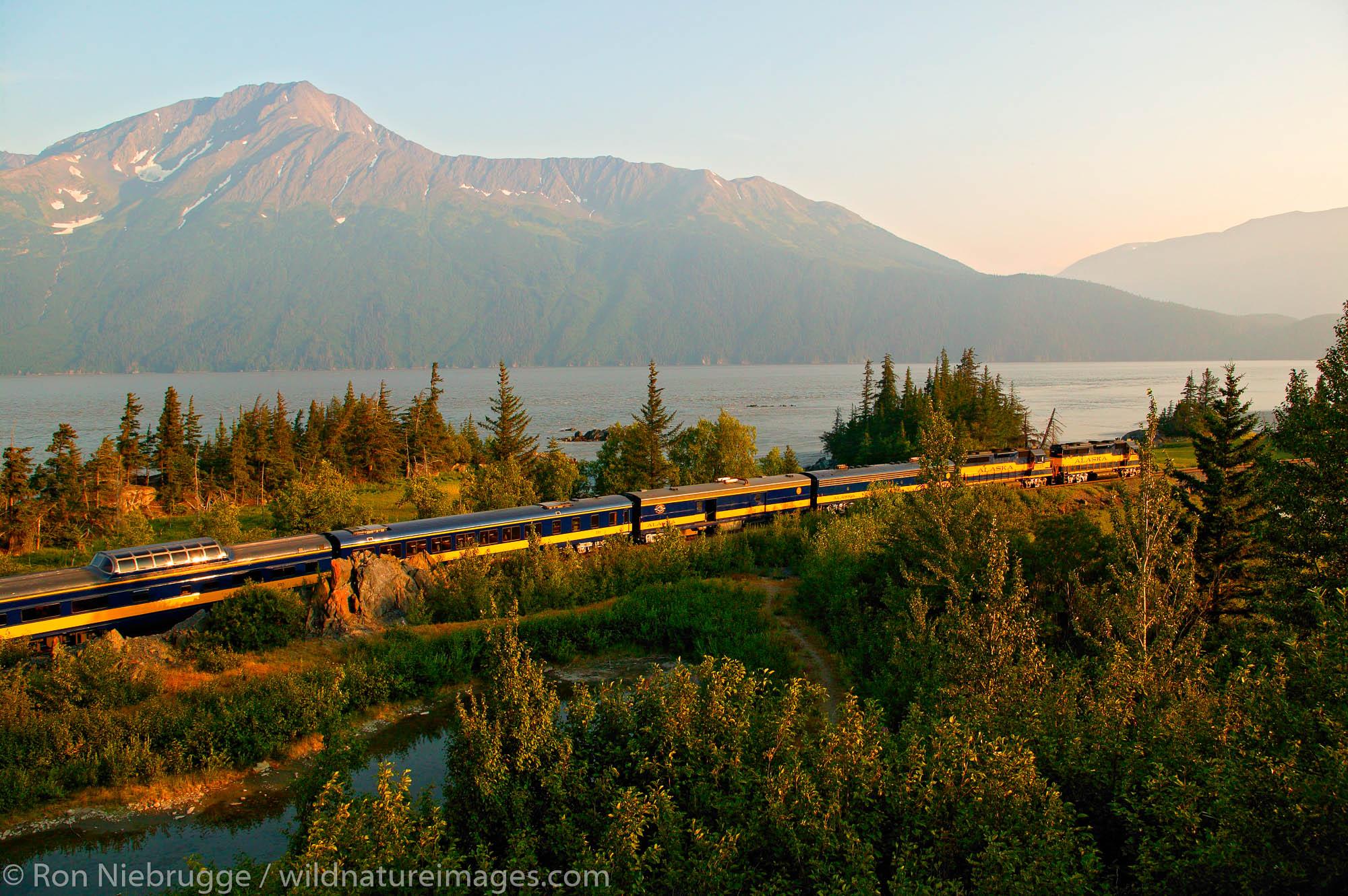 Alaska Railroad travels along Turnagain Arm on its way between Seward and Anchorage, Alaska.