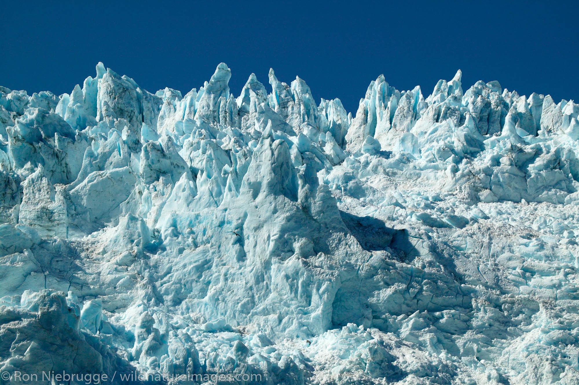 Seracs on Holgate Glacier, Aialik Bay, Kenai Fjords National Park, near Seward, Alaska.
