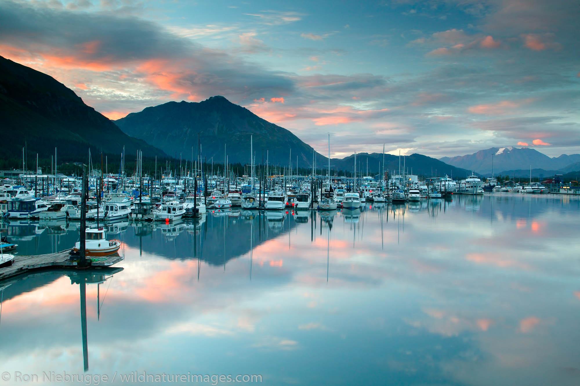 Sunset over the Seward Small Boat Harbor, Seward, Alaska.