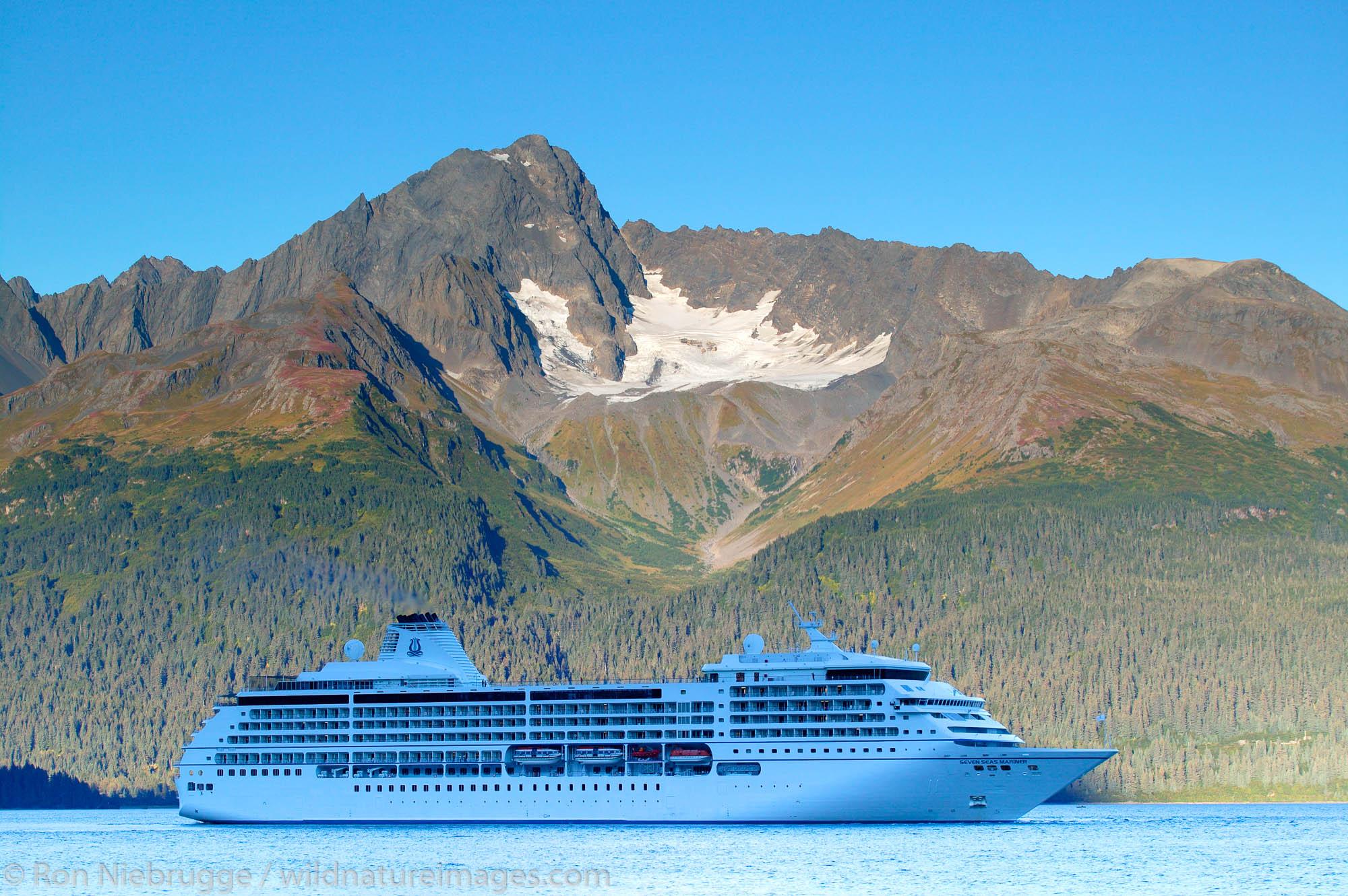 The Radisson Seven Seas Cruises ship Seven Seas Mariner in Resurrection Bay, Seward, Alaska.