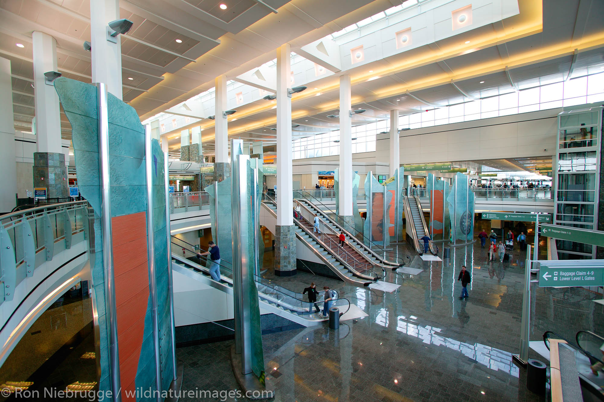 Inside the new (2004) terminal at the Ted Stevens Anchorage International Airport, Anchorage, Alaska.