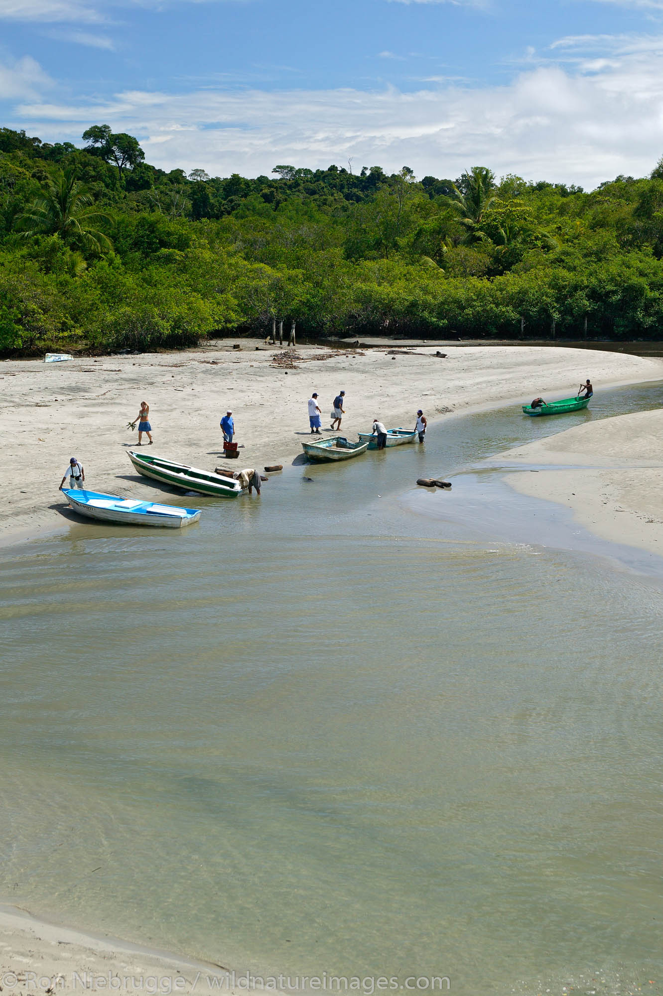 The boats ferry tourists into Manuel Antonio National Park at First Beach and the Pacific Ocean at Manuel Antonio, Costa Rica...
