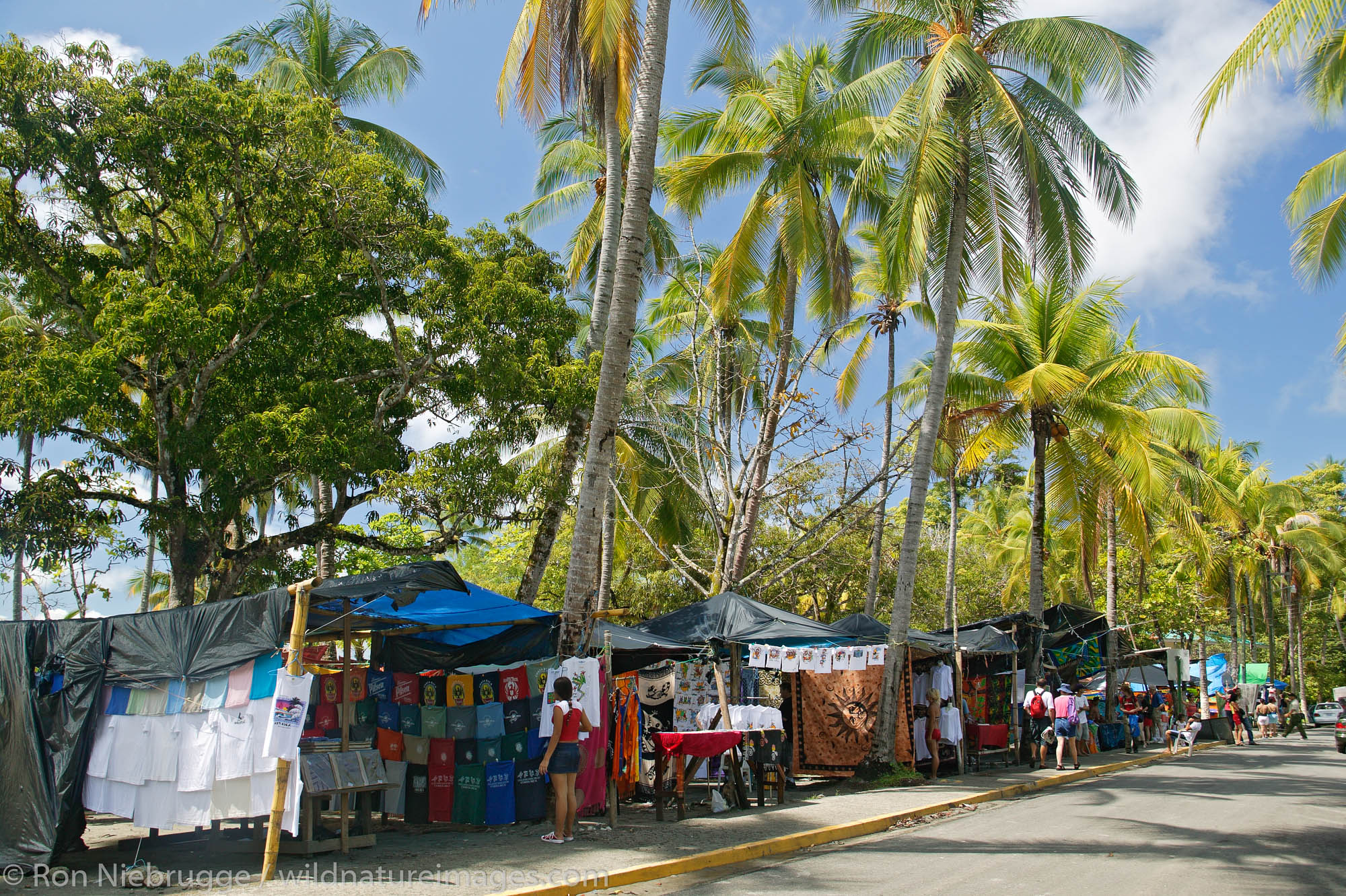 The shops along First Beach and the Pacific Ocean at Manuel Antonio, Costa Rica.