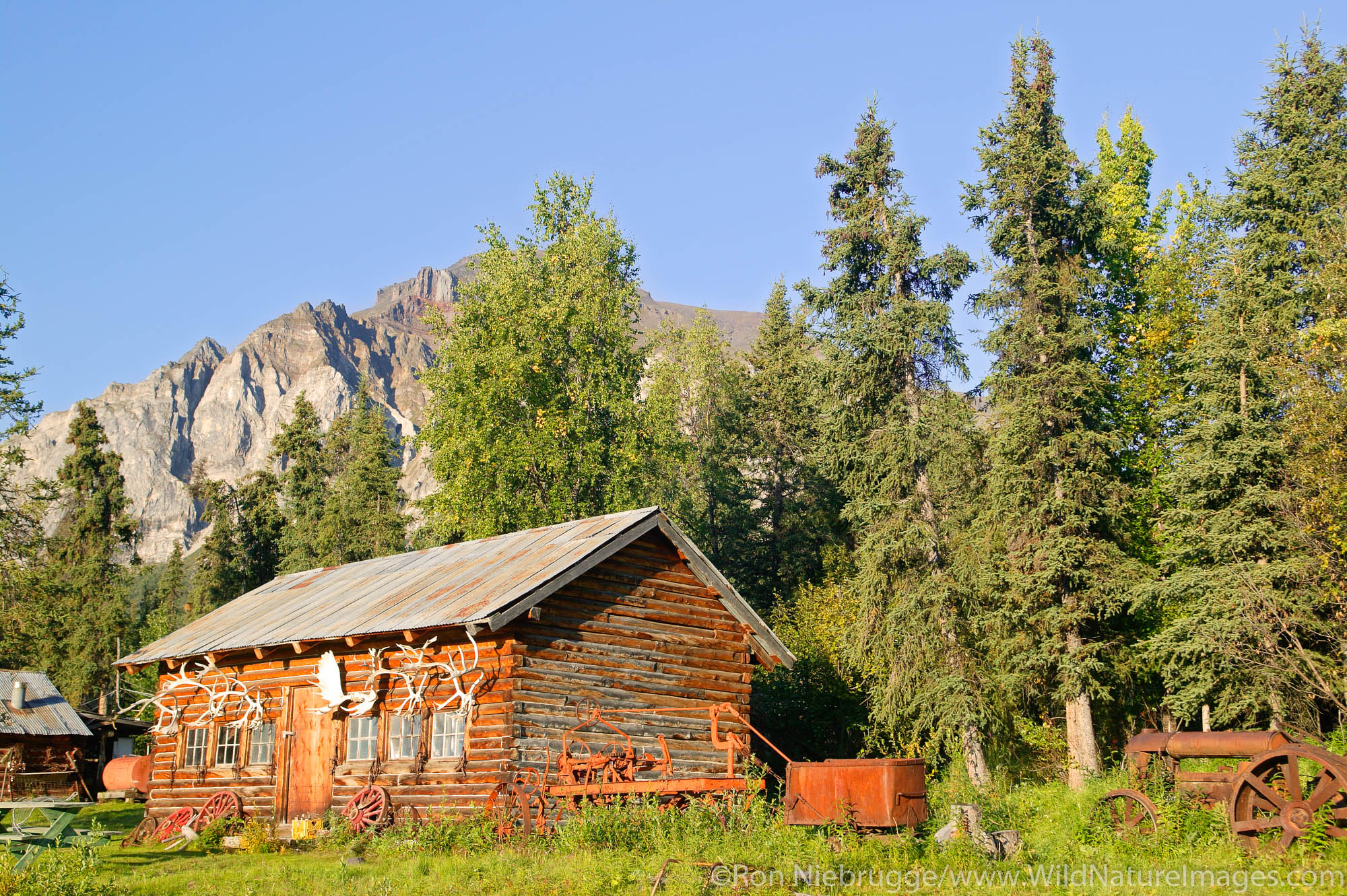 Buildings at the end of the Nabesna Road, Wrangell-St Elias National Park, Alaska.
