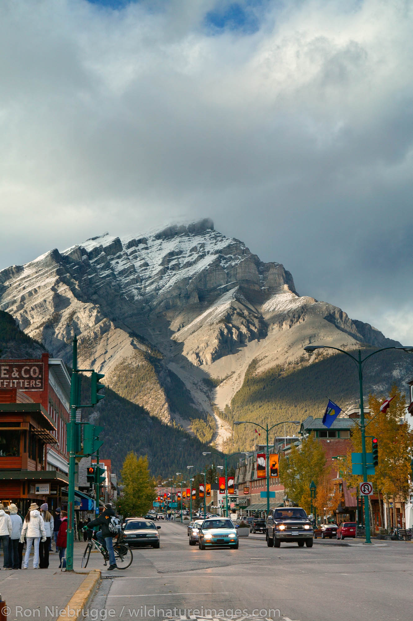 The town of Banff in Banff National Park, Alberta, Canada.