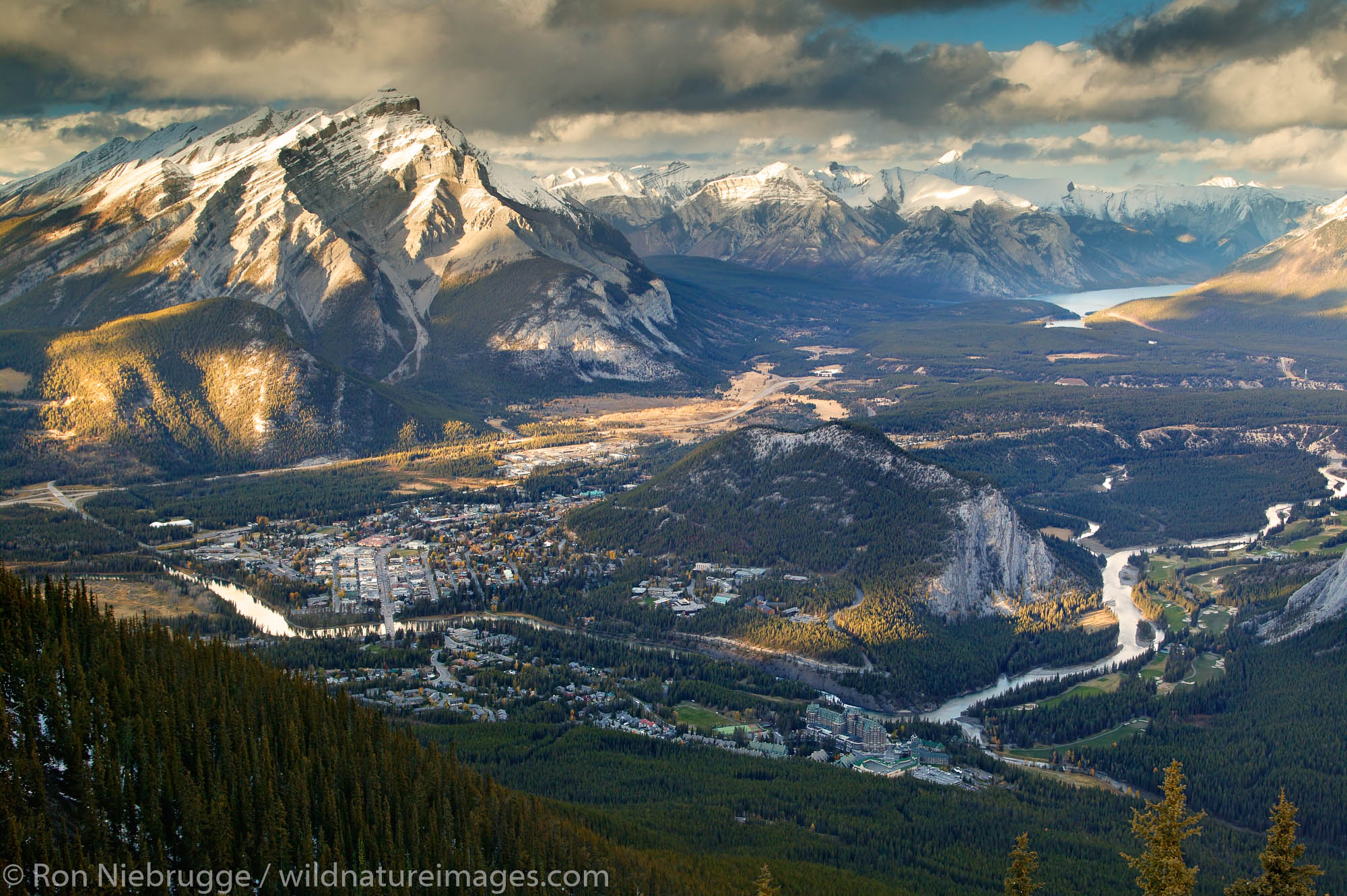 The town of Banff viewed from the Banff Gondola, Banff National Park, Alberta, Canada.