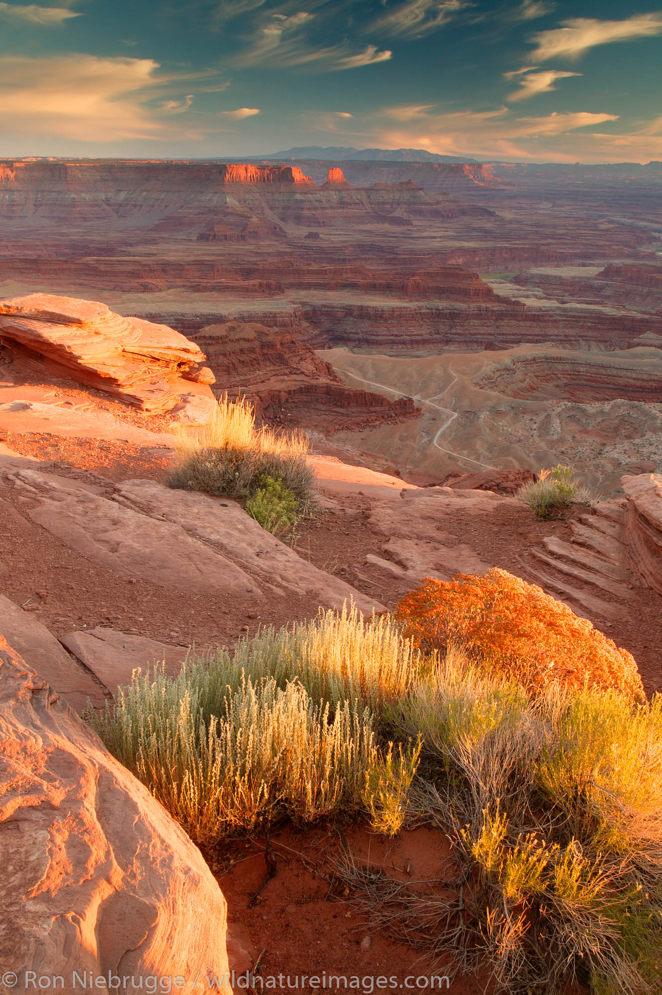 Dead Horse Point Overlook at sunset from Dead Horse Point State Park, near Moab, Utah.